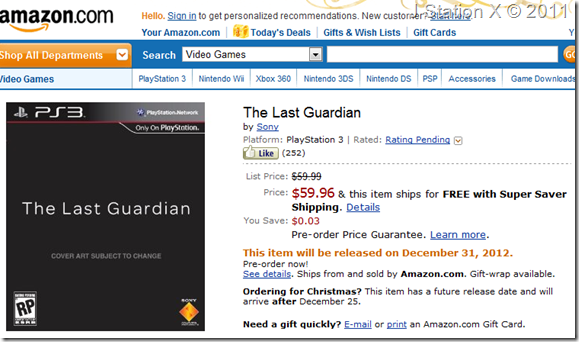 Amazon The Last Guardian Listing