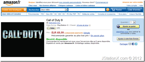 Amazon.fr Call of Duty 9 Listing