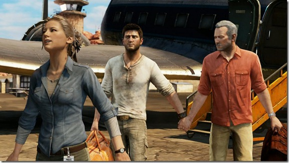 Elena Drake Sully Holding Hands Uncharted 3 Screenshot