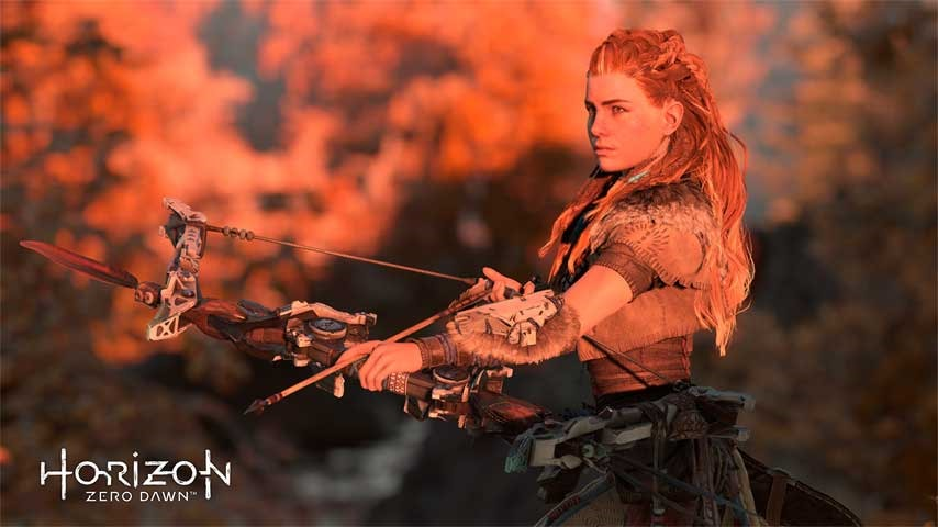 Horizon Zero Dawn screenshot female protagonist Aloy