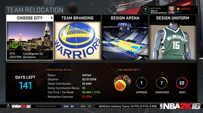 NBA 2K16 screenshot Team Relocation