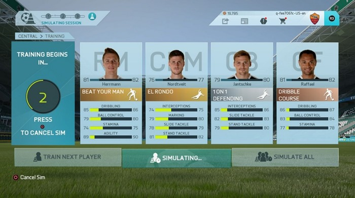 FIFA 16 career mode training