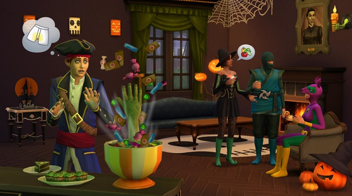 The Sims 4 Spooky Stuff candy bowl screenshot