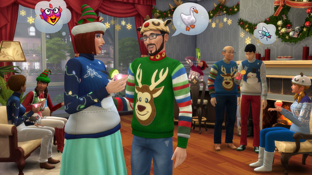 The Sims 4 Holiday Celebration Pack 2015 ugly Christmas sweaters screenshot