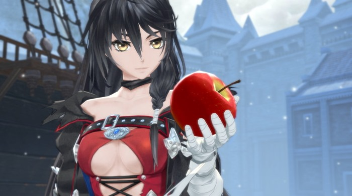 Tales of Berseria screenshot Velvet holding apple