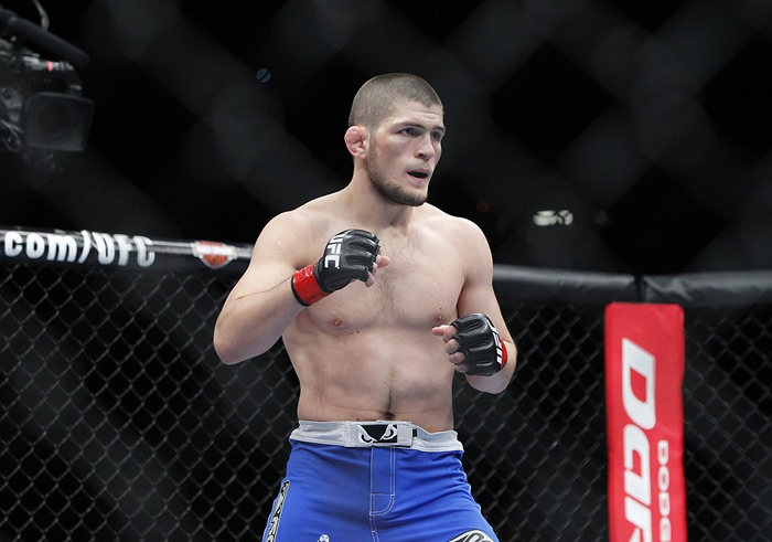 May 25, 2013; Las Vegas, NV, USA; Khabib Nurmagomedov during UFC 160 at the MGM Grand Garden Arena. Mandatory Credit: Gary A. Vasquez-USA TODAY Sports
