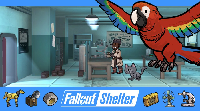 Fallout Shelter update 1.4 crafting and parrots