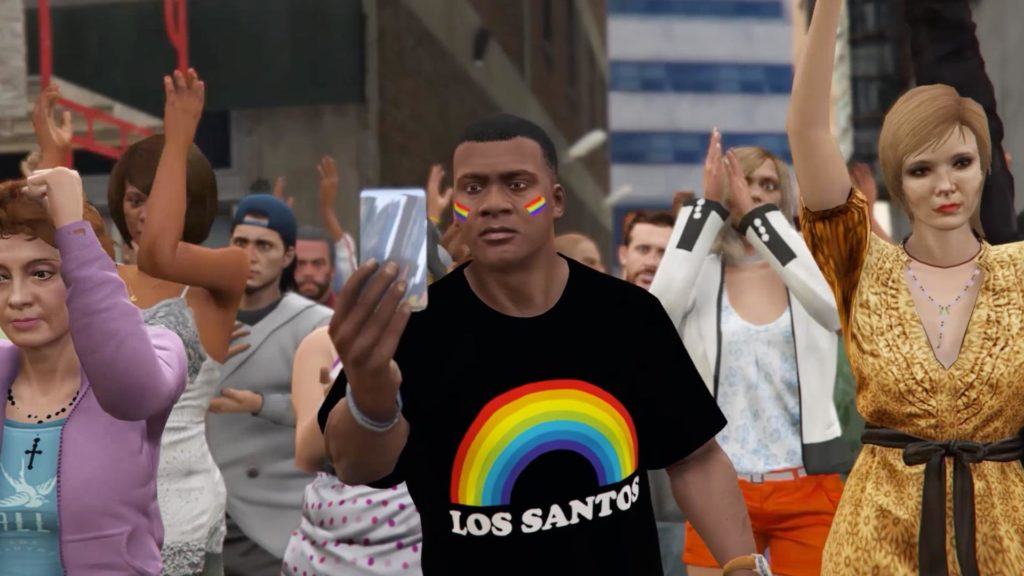 GTA 5 LGBT Pride mod screenshot Franklin