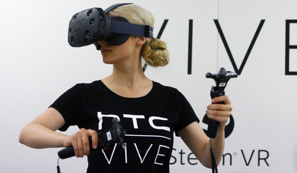 woman using HTC Vive