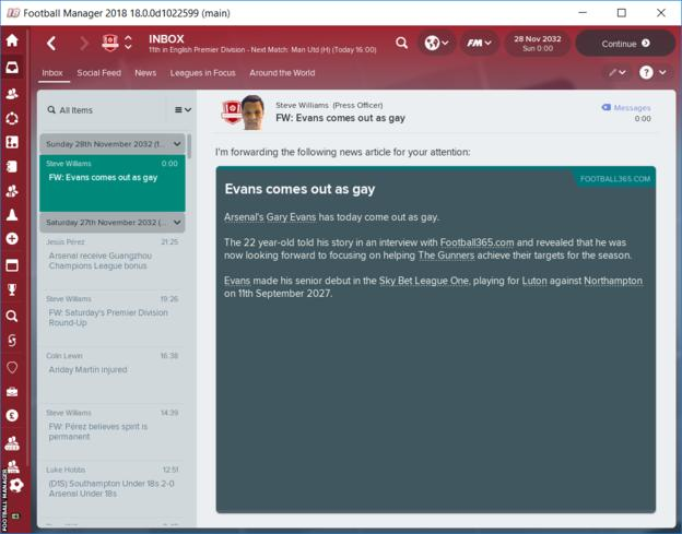 Football Manager 18 gay player coming out